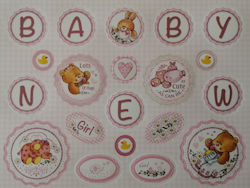 DC115, Pink Baby Girl Die Cut Greeting Sheet