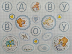 DC116, Blue Baby Boy Die Cut Greeting Sheet