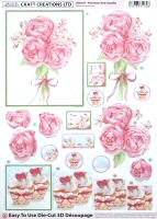 DS409 Pink Roses & Cupcake, A4 Decoupage sheet