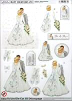 DS411 White Wedding, A4 Decoupage sheet