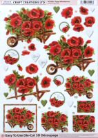 DS413 Poppy Wheelbarrow, A4 Decoupage sheet
