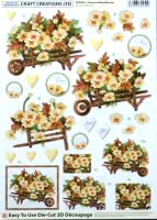 DS414 Primrose Wheelbarrow, A4 Decoupage sheet