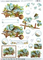DS421 Forget Me Not Wheelbarrow , A4 Decoupage sheet