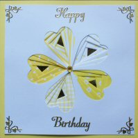 IF1019A, Heart Flower White & Yellow, Happy Birthday, Iris Folding Card Kit