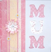 IF1173A, Pink Flower & Candy Stripe Mum, Iris Folding Card Kit