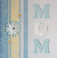 IF1173B, Light Blue Mum, With Flowers, Iris Folding Card Kit (144mm x 144mm)
