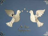 IF1229A,White  Pair of Doves,On Your Engagement ,Iris Folding Card Kit (127mm x 178mm)