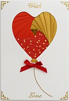 IF1159, Red Twin Hearts, Square Panel Iris Folding Card Kit