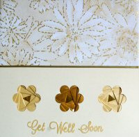 IF1527, Gold Triple Daisy,Get Well Soon, Iris Folding Card Kit