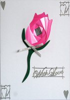 IF1534, Pink Rose,With Love,Iris Folding Kit (104mm x 148mm)