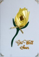 IF1535,Yellow Rose, Get Well Soon, Iris Folding Card Kit (104mm x 148mm)