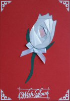 IF1536, White Rose on Red, With Love, Iris Folding Card Kit