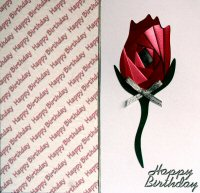 IF1537, Red Rose, Happy Birthday, Iris Folding Card Kit