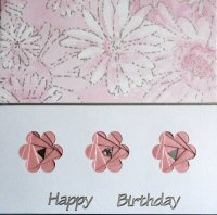 IF1538, Pink Triple Daisy, Happy Birthday, Iris Folding Card Kit (144mm x 144mm)