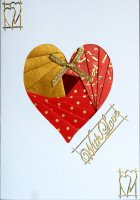 IF1539, Metalic Red & Gold Heart ,With Love,Iris Folding Kit (104mm x 148mm)