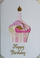 IF1540, Pink & Cream Cup Cake ,Happy Birthday ,Iris Folding Kit (104mm x 148mm)