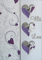 IF1542, Purple Hearts ,Triple Heart Aperture ,Iris Folding Kit (104mm x 148mm)