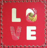 IF1549,Red ,LOVE Square Card, Iris Folding Kit (144mm x 144mm)
