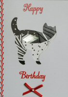 IF1550, Black & White Cute Cat, Happy Birthday, Iris Folding Card Kit
