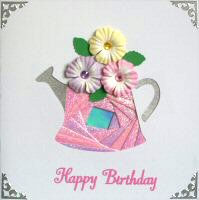 IF1552, Watering Can with Flowers, Happy Birthday, Iris Folding Card Kit