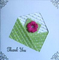 IF1553, Green Envelope, Pink Flower Letter,Thank You, Iris Folding Card Kit