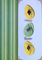 IF1555, Triple Easter Eggs, Green & Yellow,Happy Easter, Iris Folding Card Kit