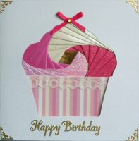 IF1556, Pink & Cream Cup Cake, Happy Birthday, Iris Folding Card Kit