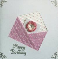 IF1557, Pink Envelope,Pale Pink Flower Letter,Happy Birthday, Iris Folding Card Kit