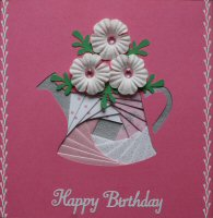 IF1558, Watering Can Pink & White with Flowers, Happy Birthday, Iris Folding Card Kit