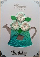 IF1559, Watering Can, Blue Shimmer with Blue & White Flowers, Iris Folding Card Kit