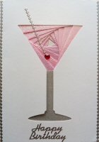 IF1560, Pink Shimmer Cocktail, Happy Birthday, Iris Folding Card Kit