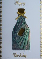 IF1562, Champagne Bottle, Green Shimmer  & Gold, Happy Birthday, Iris Folding Card Kit