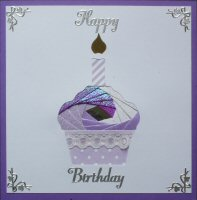 IF1563, Cupcake with Candle, Purple and Lilac,Happy Birthday, Iris Folding Card Kit