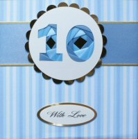 IF1573, Blue Ribbon Strip, Blue stripe,Cream on Gold, Iris Folding Card Kit