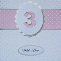 IF1582,Pale Pink Ribbon Strip,Pink  Number, Iris Folding Card Kit