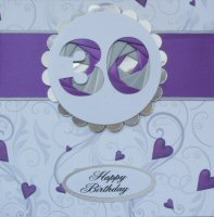 IF1584, Purple Ribbon Strip,Purple & Silver Number, Iris Folding Card Kit