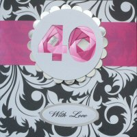 IF1587,Pink Ribbon Strip,Pink  Number, Iris Folding Card Kit