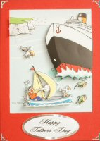 IF1613, Life Smiles Sailing,Decoupage Kit,on Red Large Card Blank,Black printed on White Greeting backed with Silver Mirri