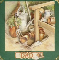 IF1617, Dad Gardening,Decoupage Kit,on Forest Green Square Card Blank