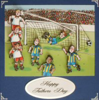 IF1618,Life Smiles Football,Decoupage Kit,on Cobalt Blue Square Card Blank,Black printed on White Greeting backed with Silver Mirri