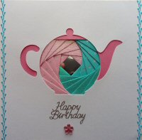 IF1624,Teapot,Pink & Blue,Happy Birthday,Iris Folding Card Kit (144mm x 144mm)