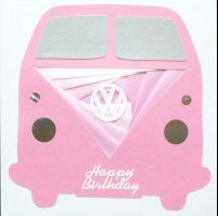 IF1625,Pink VW Camper Van Panel on Square Card,Happy Birthday Iris Folding Card Kit (144mm x 144mm)