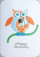 IF1628,Ollie Owl,Orange & Blue, Happy Birthday,Iris Folding Card Kit (104mm x 148mm)