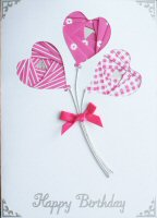 IF1637, Pink Heart Balloons,Happy Birthday, Iris Folding Card Kit