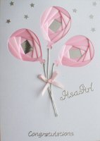 IF1638, Pink Balloons,Congratulations,Its a Girl,Iris Folding Card Kit