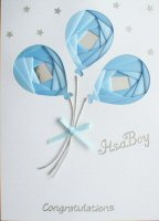 IF1639,Blue Balloons,Congratulations,Its a Boy,Iris Folding Card Kit (104mm x 148mm)