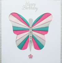 IF1647,Butterfly, Pink & Green,Happy Birthday Iris Folding Card Kit (144mm x 144mm)