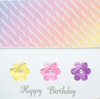 IF1648,Triple Daisy,Multicolour,Happy Birthday,Iris Folding Card Kit (144mm x 144mm)