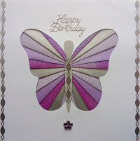 IF1649,Butterfly, Purple & Lilac ,Happy Birthday,Iris Folding Card Kit (144mm x 144mm)