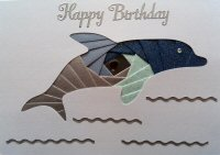 IF1655 Dolphin,Silver & Blue,Happy Birthday,Iris Folding Card Kit (104mm x 148mm)